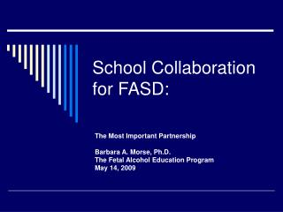 School Collaboration for FASD:
