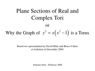 Plane Sections of Real and Complex Tori