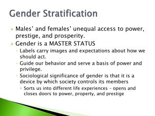 Gender Stratification