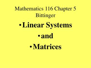 Mathematics 116 Chapter 5 Bittinger