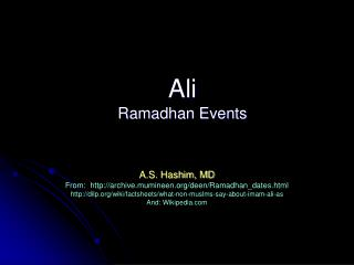 Ali  Ramadhan Events