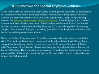 A Touchdown for Special Olympics Athletes