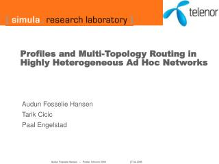 Profiles and Multi-Topology Routing in Highly Heterogeneous Ad Hoc Networks