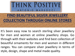 Visit Silver Jewellery Online