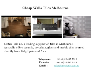 Cheap Walls Tiles Melbourne, Australia