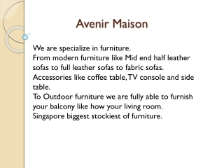 Contracts Furniture, Hotel Furniture - Avenir Maison