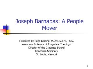 Joseph Barnabas: A People Mover