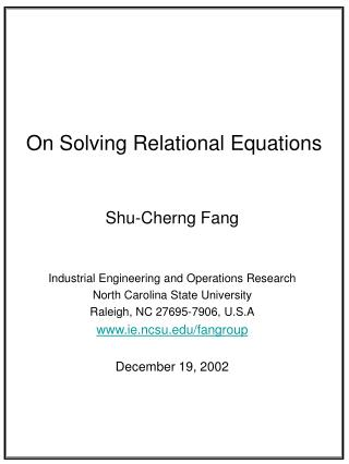 On Solving Relational Equations