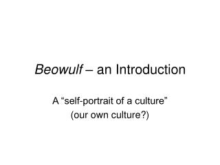 Beowulf  – an Introduction