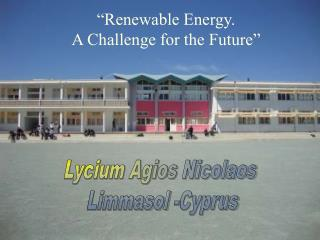 Renewable Energy.  A Challenge for the Future