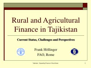 Rural and Agricultural Finance in Tajikistan