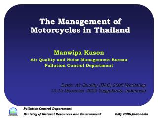 The Management of Motorcycles in Thailand