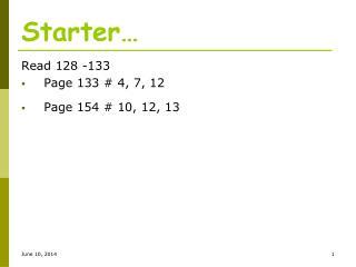 Starter…