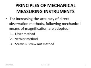 PRINCIPLES OF MECHANICAL MEASURING INSTRUMENTS
