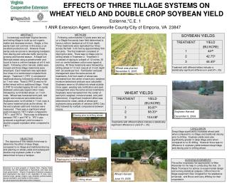 EFFECTS OF THREE TILLAGE SYSTEMS ON  WHEAT YIELD AND DOUBLE CROP SOYBEAN YIELD