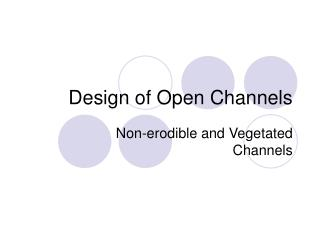 Design of Open Channels
