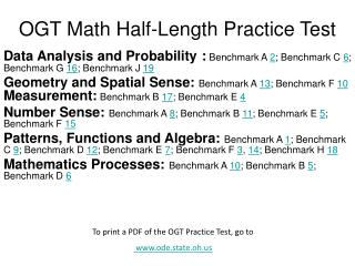 OGT Math Half-Length Practice Test