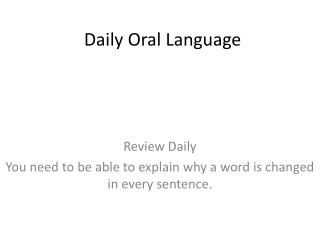 Daily Oral Language