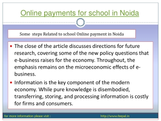 In Brief  Online payments for school in Noida