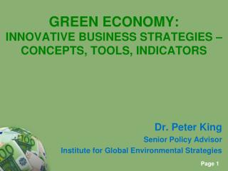 GREEN ECONOMY: INNOVATIVE BUSINESS STRATEGIES – CONCEPTS, TOOLS, INDICATORS