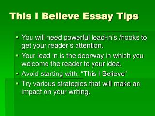 This I Believe Essay Tips