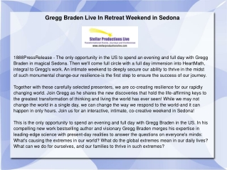 Gregg Braden Live In Retreat Weekend in Sedona