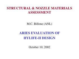 STRUCTURAL  NOZZLE MATERIALS ASSESSMENT