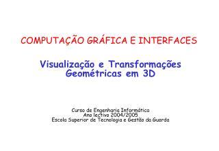 COMPUTAÇÃO GRÁFICA E INTERFACES