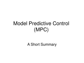 Model Predictive Control (MPC)