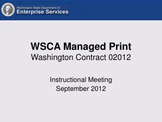 WSCA Managed Print Washington Contract 02012