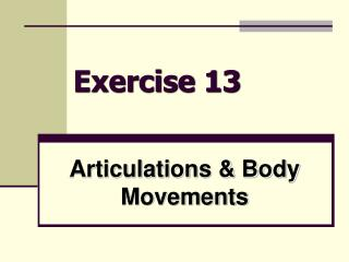 Articulations & Body Movements