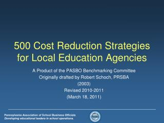 500 Cost Reduction Strategies for Local Education Agencies