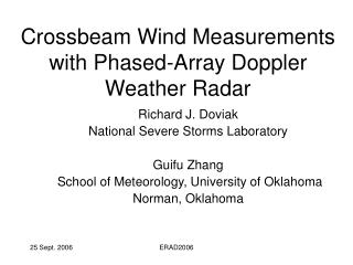 Crossbeam Wind Measurements with Phased-Array Doppler Weather Radar
