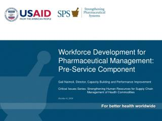 Workforce Development for Pharmaceutical Management: Pre-Service Component