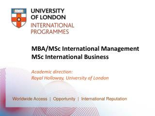 MBA/ MSc  International Management MSc  International Business