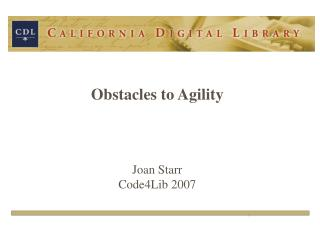 1. What does agile mean? 2. What keeps us from being agile? 3. What can we do about this? 								Total of 25 slides