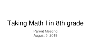 Parent Meeting 9th, 10th, and 11th grades