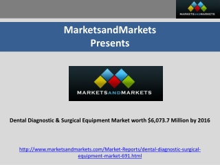 Dental Diagnostic & Surgical Equipment Market 2016