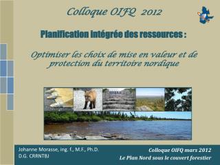 Colloque OIFQ mars 2012 Le Plan Nord sous le couvert forestier