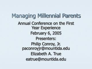 Managing Millennial Parents