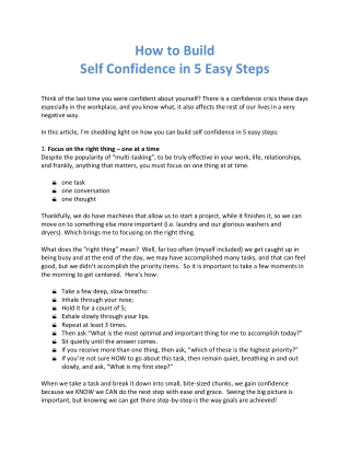 How to Build Self Confidence in 5 Easy Steps