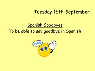 Tuesday 15th September