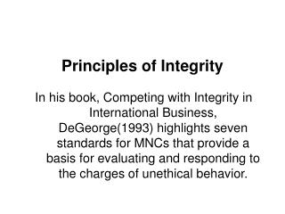 Principles of Integrity