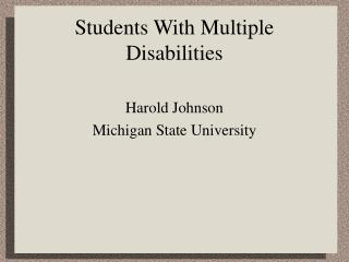 Students With Multiple Disabilities