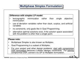 Multiphase Simplex Formulation
