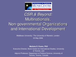 CSR  Beyond:  Multinationals,  Non-governmental Organizations and International Development