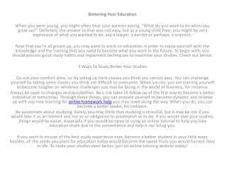 Bettering Your Education