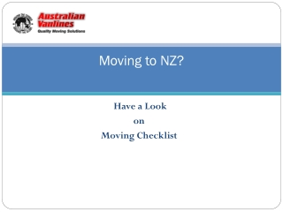 Check list before moving to New Zealand