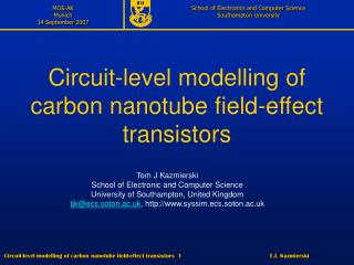 Circuit-level modelling of carbon nanotube field-effect transistors