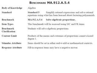 MA.912.A.5.4: Solve algebraic proportions.
